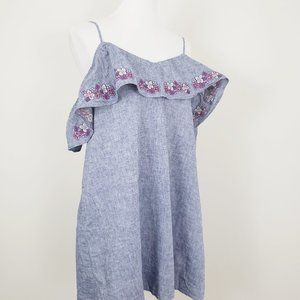 EXPRESS Cold Shoulder Ruffle Embroidered D…